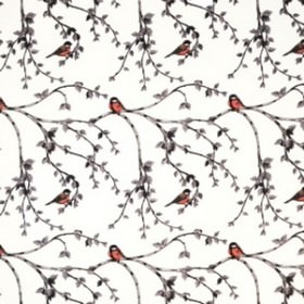 Glantan - Grey Orange - Tiny orange-red birds printed occasionally on branches which are made up of simple grey lines, on cotton fabric in w