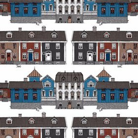 Lyseborg - Blue - Horizontal rows of terraced housing in blue, white, grey, black, terracotta & brown on a white cotton fabric background
