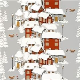 Mikkel - Grey - Cotton fabric in light grey, with a design of trees and houses in terracotta and grey, all covered in a blanket of snow