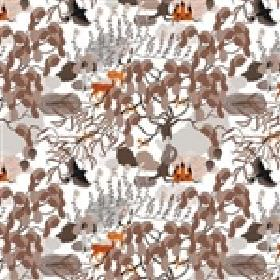 Mimers Brunn Mimers Well - Brown Orange - White cotton fabric patterned with abstract shapes in several different shades of grey, cream and