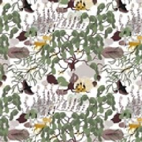Mimers Brunn Mimers Well - Green Yellow - Birds, leaves and other abstract shapes printed on white cotton fabric in shades of green, grey, b