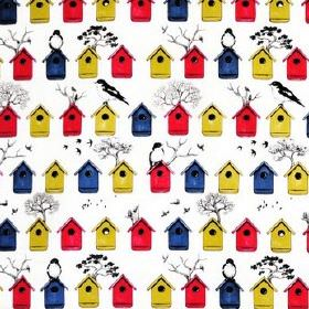 Fagelholkar - Multi - Rows of primary coloured bird boxes with simple black birds and trees on a white cotton fabric background