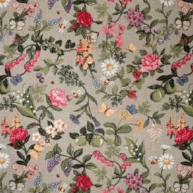 Sommardrom Lin - Multi - Light grey cotton fabric patterned with green leaves, apples and pears, and various multicoloured flowers