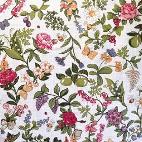 Sommardrom - Off White - Pink, purple, yellow white and blue flowers printed with green leaves, apples and pears on fabric made from white c