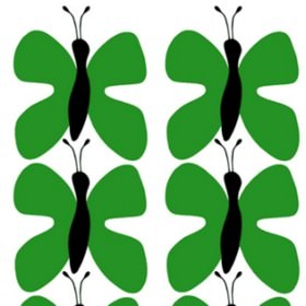 Fjaril Butterfly - Green - White IKEA fabric with black and green butterflies for children