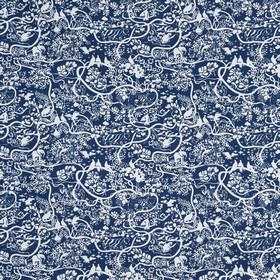 Mitt Zoo - Blue - Midnight blue and white 100% cotton fabric patterned with small florals and swirls