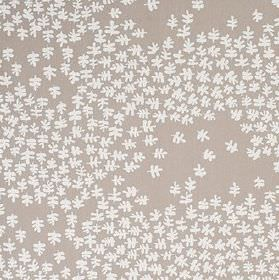 Lager - Beige - Small, simple white leaves scattered over a steel grey coloured 100% cotton fabric background