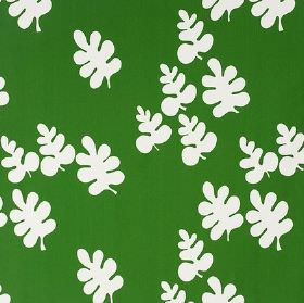 Glada Blad - Green - Bright green 100% cotton fabric patterned with simple white oak leaves