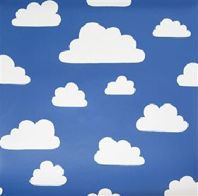 Clouds - Blue - Blue IKEA fabric with white clouds for children