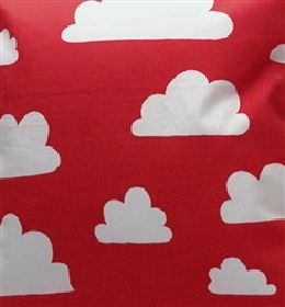 Clouds - Red - Red IKEA fabric with white clouds for children