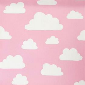 Clouds - Pink - White clouds against a pale pink cotton fabric background
