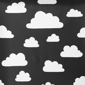 Clouds - Black - Cloud print 100% cotton fabric in monochrome black and white colours