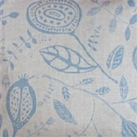 Happy Sthlm Orangeriet - Natural Light-Blue - Light grey linen fabric printed with simple blue coloured seed pods and leaves