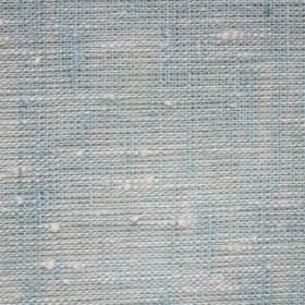 Maya Linen - Turquoise White - Linen fabric made from light blue and white threads of different thicknesses