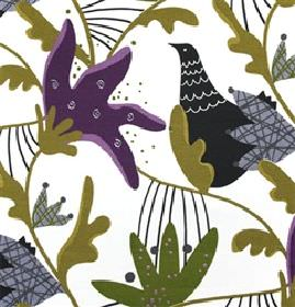 Gotte - Purple - White fabric with green and purple abstract flowers and birds from IKEA
