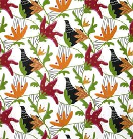 Gotte - Red - White fabric with green and red abstract flowers and birds from IKEA