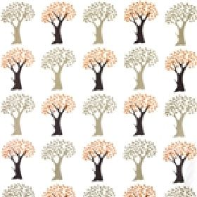 Trees - Multi - A simple tree design in orange, black, grey & beige lined up in neat rows on a background of white fabric made of cotton