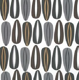 Fifties - Brown - Regular, repeated husk and oval shaped patterns printed in greys and browns on white fabric made from cotton