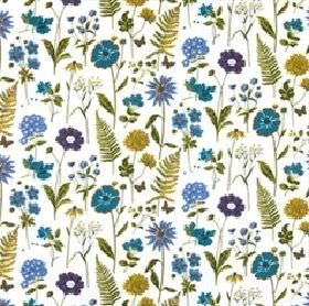 Haga - Blue - White cotton fabric patterned with wild flowers in various shades of blue, as well as green leaves and ferns