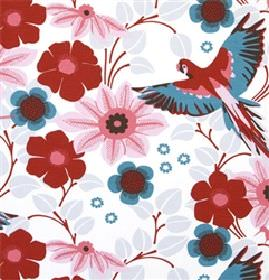 Papegojnypon - Pink - White fabric with tropical birds and flowers in red, pink and blue from IKEA
