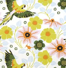 Papegojnypon - Green - White fabric with tropical birds and flowers in green, orange and grey from IKEA