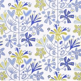 Alma - Blue - White fabric with a modern abstract blue floral design from IKEA