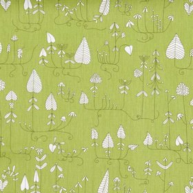 Moorland - Green - Simple white leaves outlined in dark green, against a grass green coloured cotton fabric background