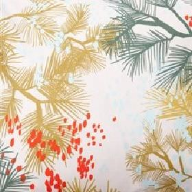 Cherry - Rain Dawn - Fabric made from white cotton patterned with bright orange dots and spiky leaves in green and gold