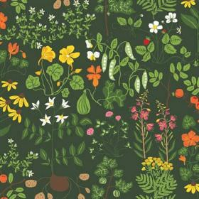 Leksand - Green - Leaves, vegetables, roots and flowers printed on 100% cotton fabric mainly in shades of green, with some orange and pink