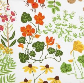 Leksand - White - Orange, yellow and red flowers with various different green leaves on a background of white 100% cotton fabric