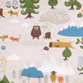 Little Bear - Pink - Multicoloured mountain themed 100% cotton fabric featuring lakes, animals, mountains, trees, clouds, flowers and birds