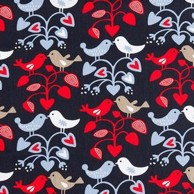 Lovebirds - Red Black - A lovebird design with leaves and pairs of birds in beige, white, light blue & red on very dark blue 100% cotton fab