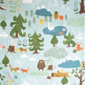 Little Bear - Blue - Forest patterned 100% cotton fabric with fun, colourful designs of trees, mountains, logs, owls, beavers, dogs & clouds