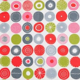 Candy - Multi - Modern white fabric with multi coloured decorated spots from IKEA