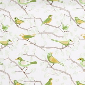 Sherwood - Green - White fabric with a country design of brown branches and green birds from IKEA