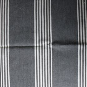 Charcoal - Charcoal - Seven narrow white stripes repeatedly printed over fabric made from dark grey coloured cotton