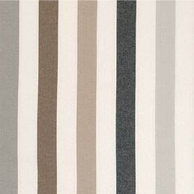 Helene - Brown Black - Striped cotton fabric featuring a regular pattern in cream, iron grey, dark brown, light brown, black and light grey