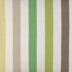 Helene - Green Brown - Stripes in four different shades of green, interspersed with cream, beige and dark brown bands, on cotton fabric