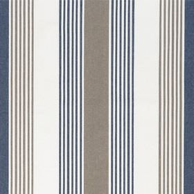 Ios - Navy Brown - Fabric made from off-white cotton, with a regular, repeated striped design alternating in dark blue and grey
