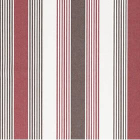 Ios - Red Brown - Dark shades of grey-brown and red making up a regular, repeated stripe pattern for cotton fabric in an off-white colour