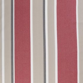 Shanghai - Red - A random striped design on this swatch of cotton fabric, featuring bands of bright pink, beige, black and white