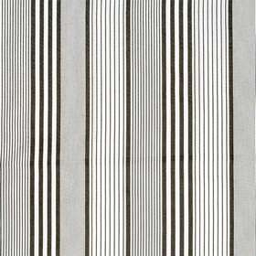 Stone - Charcoal - Vertical black stripes of different widths placed at differing intervals over very light grey coloured cotton fabric
