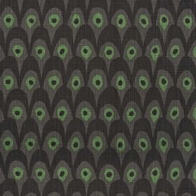 Circus - Black Green - Modern abstract black and brown fabric with green spots from IKEA
