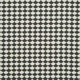 Waves - Black Dark Grey - Black and white fish scale grid IKEA fabric