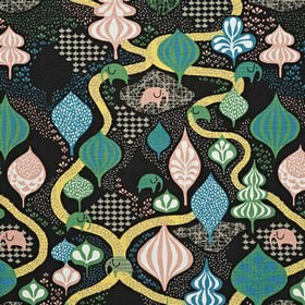 Saga Forest - Black Multi - Black childrens IKEA fabric with a yellow brick road and a magical forest with elephants
