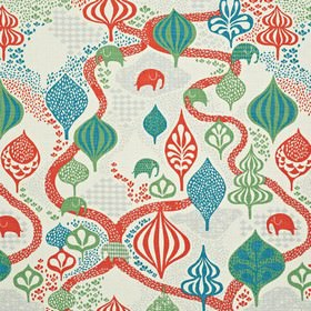 Saga Forest - White Red - White childrens IKEA fabric with a red brick road and a magical forest with elephants