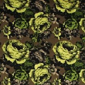 Baronessa - Green - Modern fabric with classic green and black roses on a dark green brown background