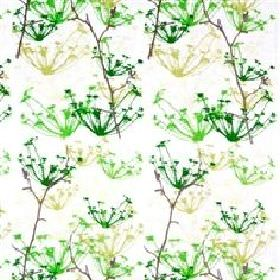 Ogras - Green - White fabric with green and yellow meadow flowers from IKEA