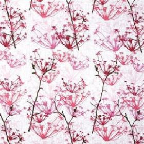 Ogras - Raspberry - White fabric with raspberry pink meadow flowers from IKEA