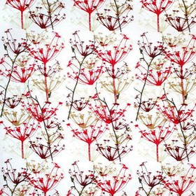 Ogras - Red - White fabric with red meadow flowers from IKEA